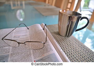 Morning Coffee  - Morning coffee and magazine at the table