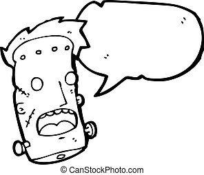 funny Frankenstein monster head cartoon