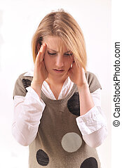 young woman with headache - young lady with a migrane...