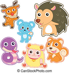 cute cartoon animal set, vector illustration with white...