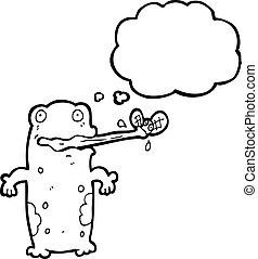 cartoon frog eating fly