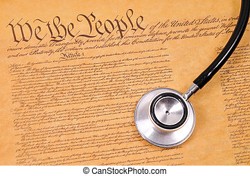 US Constitution and stethoscope - conceptual shot of the US...