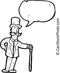 cartoon man in top hat with cane