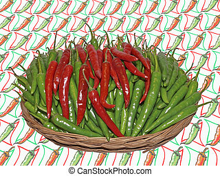 Red and Green Common Chilis, Capsicum annuum in a basket -...
