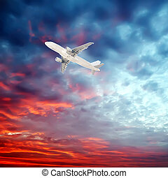 Airplane in the sky - Passenger Airliner aircraft