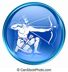 Sagittarius zodiac button icon, isolated on white...