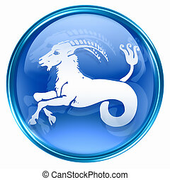 Capricorn zodiac button, isolated on white background