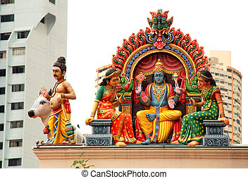 Hindu temple(Sinapore) - Details of the decorations on the...