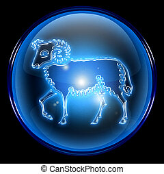 Aries zodiac button icon, isolated on black background