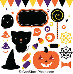 Halloween party set isolated on white