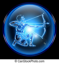 Sagittarius zodiac button icon, isolated on black background