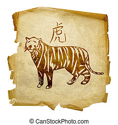 Tiger Zodiac icon, isolated on white background