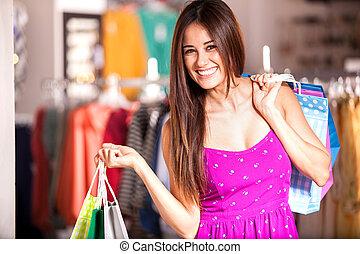 Cute woman doing some shopping