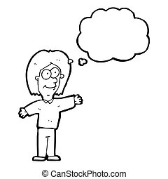 cartoon person with thought bubble