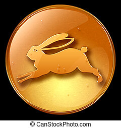 Rabbit Zodiac icon, isolated on black background.