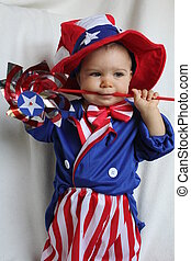 patriotic child - red white and blue child with pinwheel
