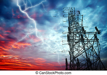 Electricity Towers - Dramatic Image of Power Distribution...