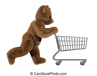 Teddys shopping trolley