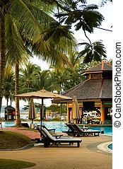 Swimming pool of tropical resort - View of tropical resort...