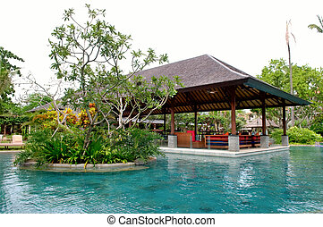Swimming pool of tropical resort - View of tropical resort...