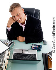 high angle view of smiling businessman