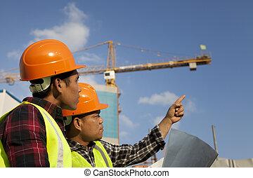 Diskussion, Baugewerbe, arbeiter, Standort, Ort