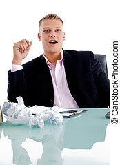 surprised businessman portraits on an isolated white...