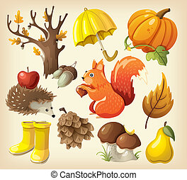 Set of autumn elements and items - Set of elements and items...