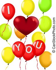 Balloons with a Red Love Shape
