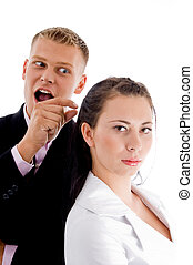businessman pointing to woman with white background