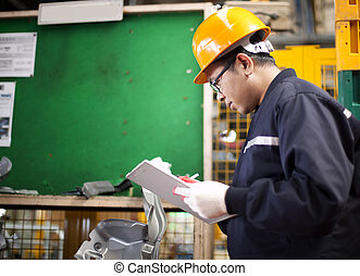 industrial engineer - Portrait of asian engineer checking...