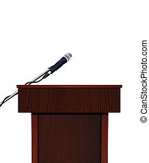 Podium and Microphone Over White
