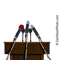 Podium and Microphones - Press Conference Podium and...