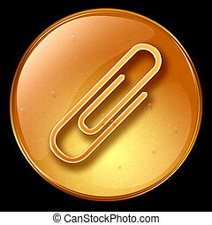 Paper clip icon - Paper clip icon, isolated on black...