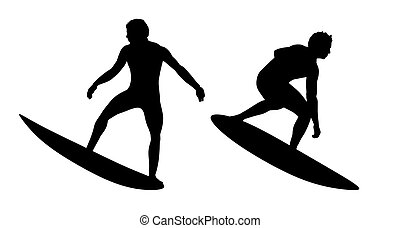 surfers silhouettes set 1 - silhouettes of two surfers...