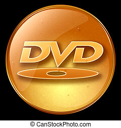 DVD icon.  - DVD icon, isolated on black background.