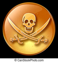 Pirate icon. - Pirate icon, isolated on black background.