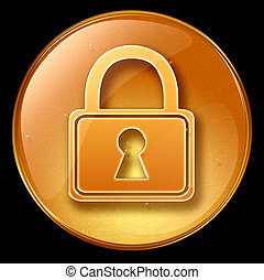 Lock icon, isolated on black background