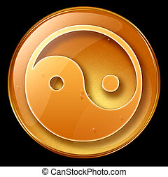 yin yang symbol icon, isolated on black background