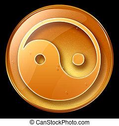 yin yang symbol icon, isolated on black background