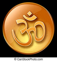 Om Symbol icon, isolated on black background