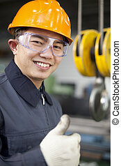 Asian engineer - Portrait asian engineer showing thumb up...