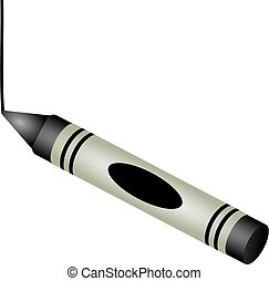 black crayon - Childs black drawing crayon isolated on...