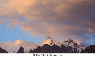 The sun is setting, there are stars Tien Shan Time Lapse -...