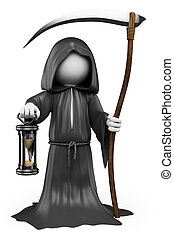 3D white people Halloween The Grim Reaper - 3d white people...
