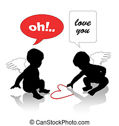 babies in love - silhouettes of two cute little baby angels,...