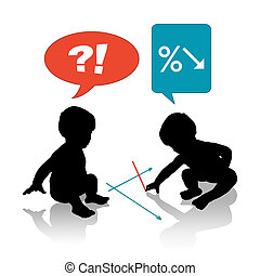 babies drawing a recession business graph - silhouettes of...