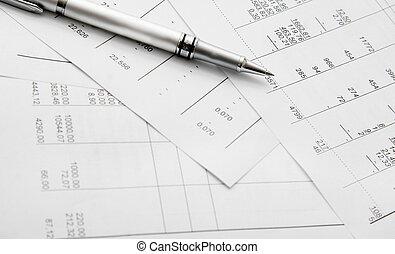 balance sheets and pen
