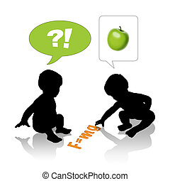 smart babies and Newton - silhouettes of two cute little...