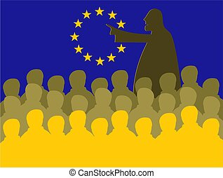eu meeting - Crowd of people in a European Union board...